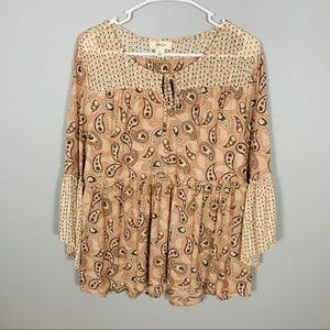 Style & Co Boho Peasant Paisley Style Top
